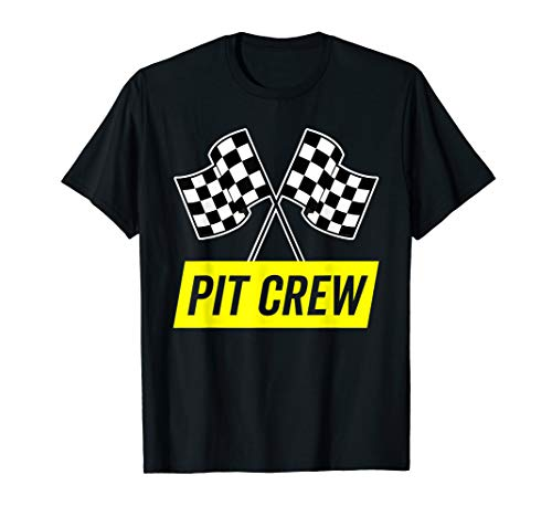 Yellow Italic Pit Crew Shirt for Racing Party Costume (Dark)