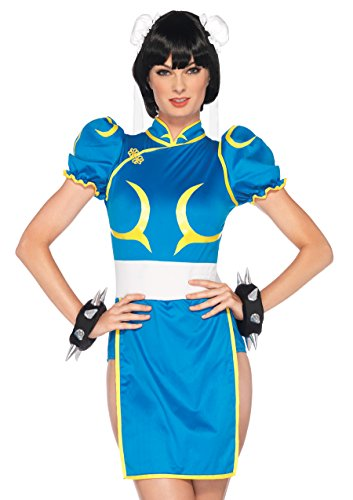 Leg Avenue Women's Street Fighter 3 Piece Chun-Li Costume, Blue, Medium/Large - Street Fighter Chunli Adult Costumes