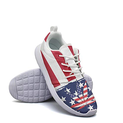 American Flag Pot Leaf Marijuana Freedom Sneaker Shoes for Womens Cool Wear-Resistant Running Shoes Girls