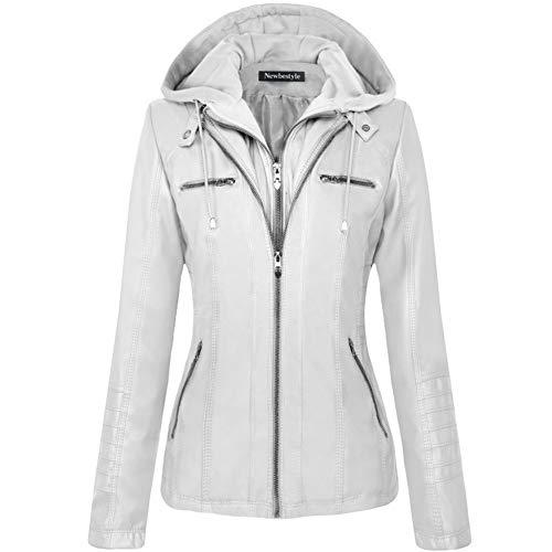 (Newbestyle Women Hooded Faux Leather Jacket Hat Detachable Zipper Jacket Women Motorcyle Jacket,White,Large)