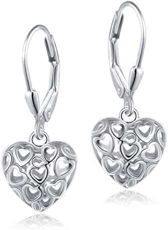 89408f8f3 ALPHM S925 Sterling Silver Ball Heart Cage Earrings/Pendant Necklace for  Women Girl
