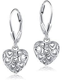 S925 Sterling Silver Stud Dangle Drop Heart Earrings for Women Girl