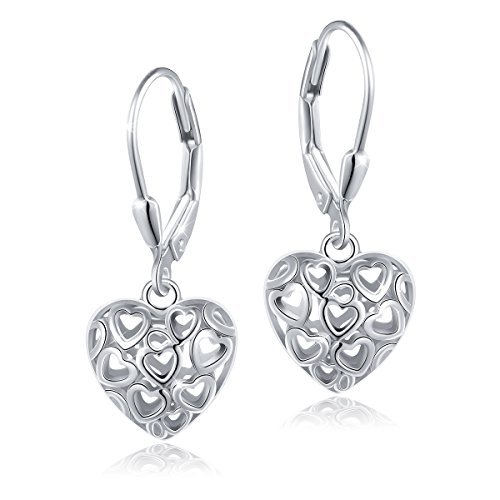 ALPHM S925 Sterling Silver Heart Dangle Drop Leverback Clasp Lever Back Earrings for Women Mother Girl