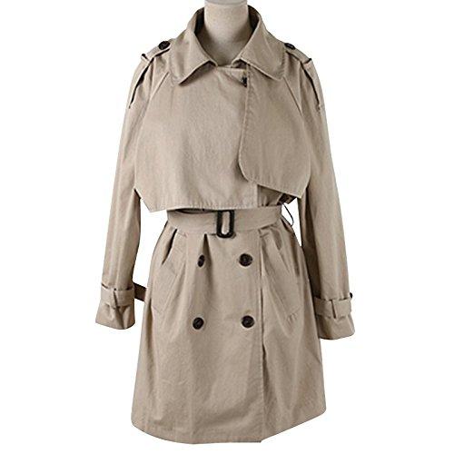 Duplica la mujer tie coat cintura - chaqueta caqui suelto CWN Khaki