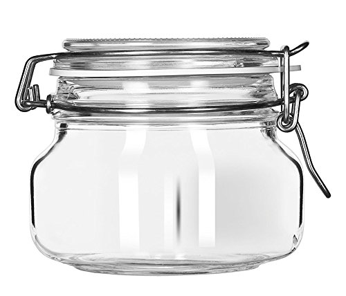 Libbey 1720883 Glass Jar with Clamp Lid (Set of 6), Clear