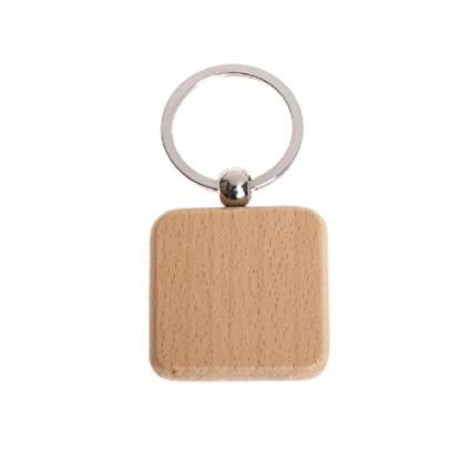 2e126b4627 Image Unavailable. Image not available for. Color: Pack of 10 Blank Wooden Key  Chain Personalized EDC Wood Keychain ...