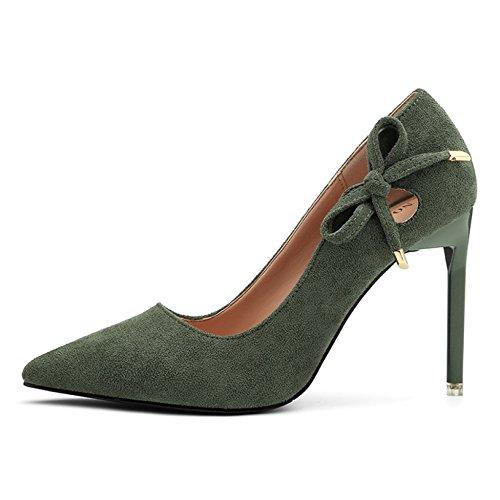 Ol Pompes Cut Chaussures r Sexy Polaire Discothque Femmes Talons Tip Lady Vert Shallow Pour Yr Cour Slim Hauts Stiletto Professionnel Voyage Az8pzx