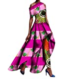 Tootless Women 2pcs Set Africa Long Pants Dashiki Fit Shoulder Off Long Dress 4 2XL