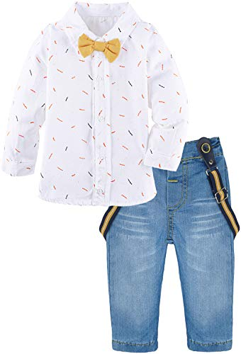(Lilax Baby Boys Gentleman Outfit Long Sleeve White Shirt with Suspender and Pant 2 Piece Set 9M Yellow)