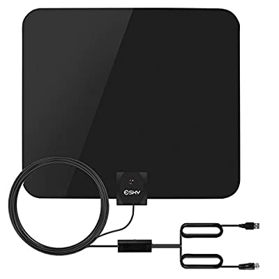 TV Antenna, Esky Indoor Digital Amplified HDTV Antenna 50 Miles Range High Definition and Reception of Digital Broadcast, with Detachable Amplifier Signal Booster and 10ft High Performance Coax Cable