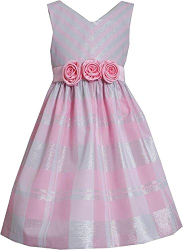 Lurex Check - Bonnie Jean Tween Big Girls 7016 Lurex Stripe and Check Taffeta Dress (8, PNK)