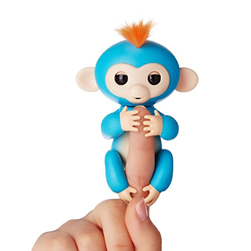 Fingerlings - Interactive Baby Monkey- Boris (Blue with Orange Hair) By WowWee (Beauty Day Care)