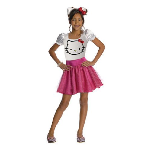 Cheap Hello Kitty Costume (Rubies Girls Hello Kitty Costume with Dress & Headband Small)