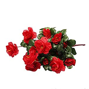 Gmedodsk Artificial Rhododendron, Bouquet Simulation of Azalea Safflower Hydrangea Display Filler Floral Arrangement DIY Home Party Garden Decor (Red) 22