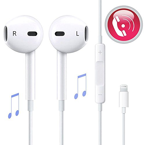 Earbuds,LeiMei Lightning With Microphone Earphones Stereo Headphones and Noise Isolating headset Made for iPhone 7/7 Plus iPhone8/8Plus iPhone X Earbuds-White