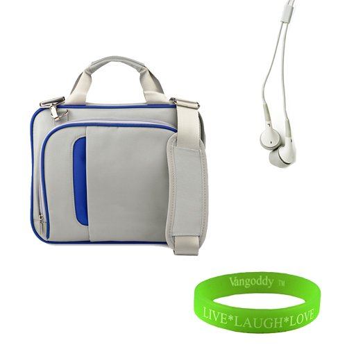 (Titanium Silver with Navy Blue 13 inch Messenger bag for your Toshiba Satellite U840 Ultrabook bag is shock absorbent, fully padded exterior and interior + Vangoddy Live Laugh Love Bracelet + Universal Earbuds.)