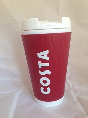 Costa Coffee Reusable Red Plastic Travel Mug Tumbler Cup, Double Wall  450ml, Ripple Design