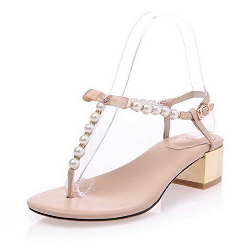 AmoonyFashion Womens Solid Cow Leather Kitten Heels Split Toe Buckle Sandals Nude BLlF9SEVR8