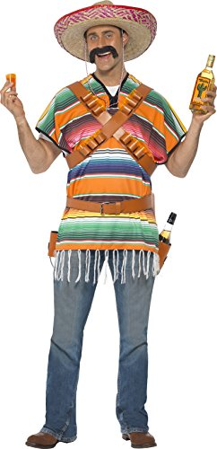 Smiffys Mens Tequila Shooter Guy Costume Poncho Bandoliers Belt