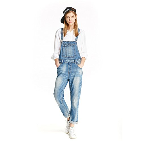 Women Clothing Blue Jeans Denim Overalls (S, Blue) ()