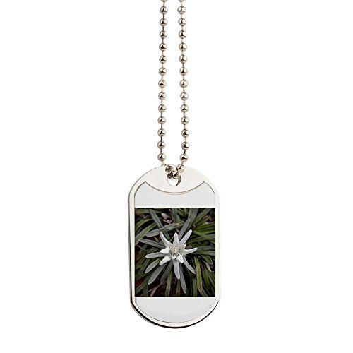 CafePress - White Alpine Edelweiss Flower - Military Style Dog Tag, Stainless Steel with Chain