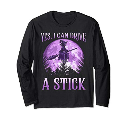 Witch Broom Funny Halloween T-Shirt Yes I Can Drive A Stick