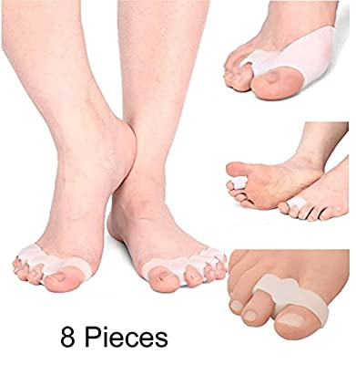 WofuL 4 Pairs Gel Toe Separators Toe Stretchers Toe Bunion Corrector Silicon Toe Straightener Spacer Spreader Aid for Men and Women