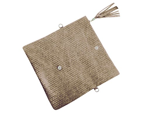 LAFINITY LT3108 Echt Leder Tasche Clutch Flecht Baguette Abendtasche Sand Beige