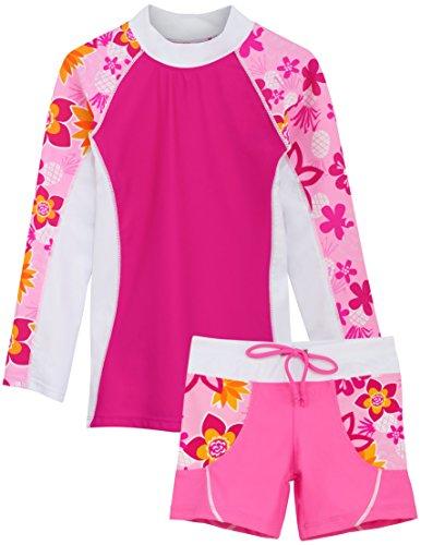 - Tuga Girls Shoreline L/S & Swim Short (UPF 50+), Taffy, 4/5 yrs