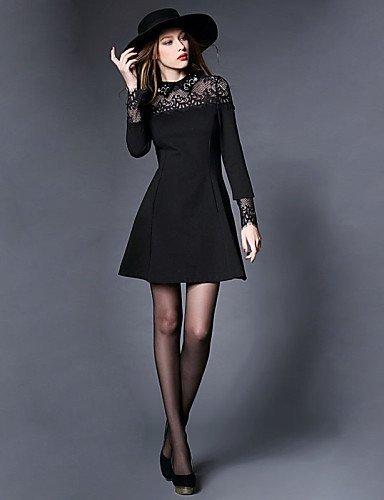 GSP-Damen Kleid - Übergrößen Übergröße / Sexy Patchwork Mini Polyester / Andere Hemdkragen