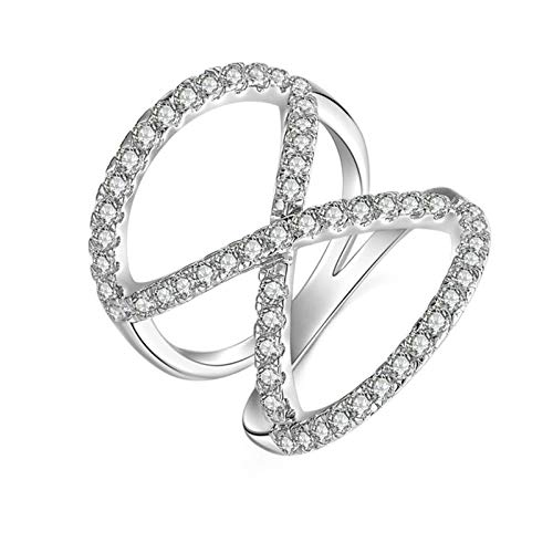 Aooaz Ring for Wedding Silver Material Ring Crossover Silver Ring for Bride Bridal Ring US Size 11 ()