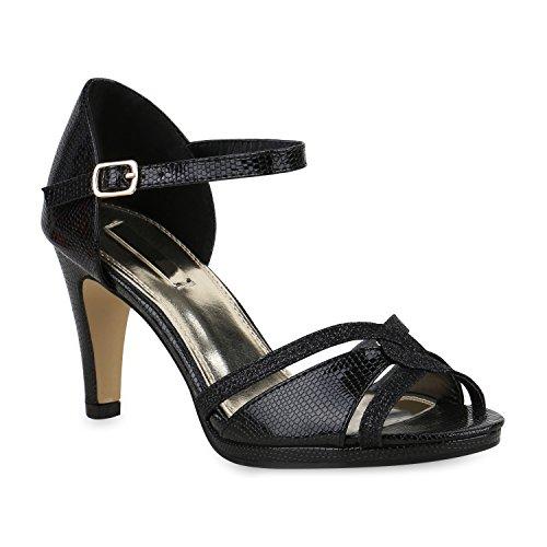 Stiefelparadies Damen Riemchensandaletten Strass Sandaletten Stilettos High Heels Party Schuhe Glitzer Lack Mid Heel Sandalen Flandell Schwarz