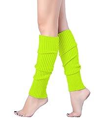 V28Women Winter 80s Eighty\'s Warm Leg Warmers Knitted Long Socks (one size, 5 Pack(Red+White+Green+Fluorescein+Rose))