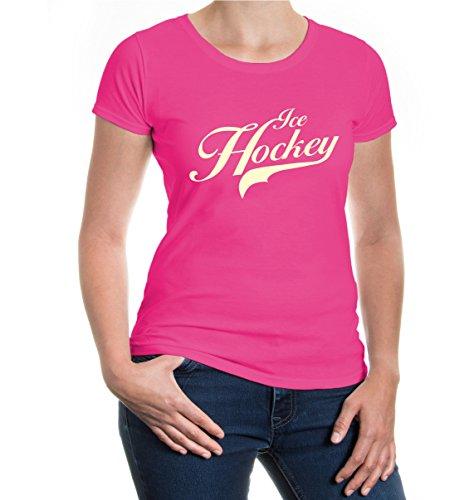 Girlie T-Shirt Ice Hockey Logo-XXL-fuchsia-beige