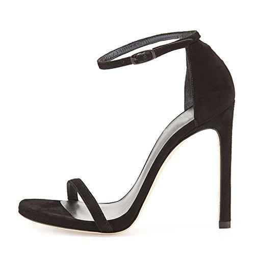 Rouge Vidéo High Noir Avec Femmes Heeled SHOESHAOGE Sandales Dew Femme Fine EU36 Fine Slotted Avec Chaussures UnqB8a