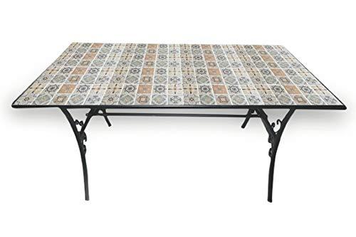 Tavoli Da Giardino In Ferro Battuto E Mosaico.Galileo Casa Rodi Tavolo Rettangolare Mosaico 145x83xh75cm Nero