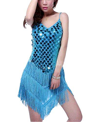 Gladiolus Mujeres Correa Fringed Vestido Danza Sin Mangas Lentejuelas Latino Salsa Borla Lago Azul