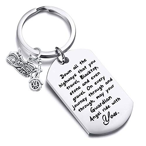 FUSTYLE Jeep Gift Drive Safe Keychain May Your Guardian Angel Ride with You Jeep Lover Gift (Biker)
