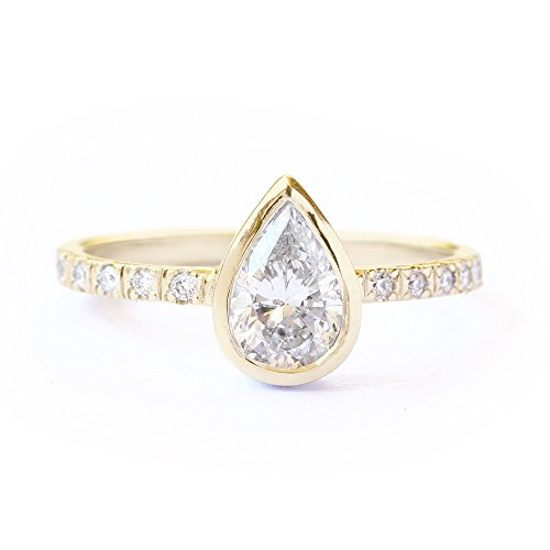 Pear Ring, 0.5 Ct Diamond Ring, Pear Shaped Diamond Unique Engagement Ring