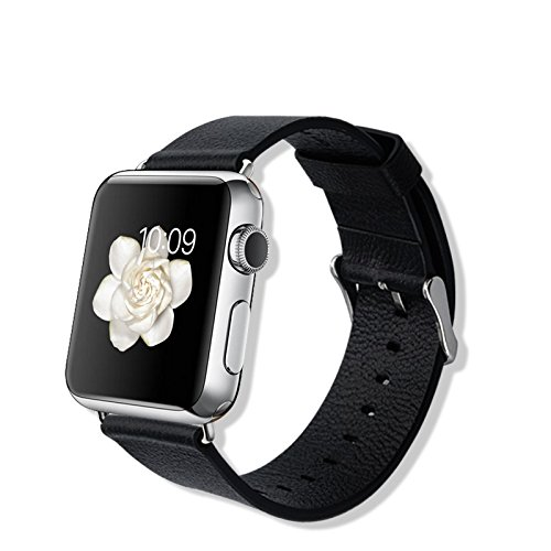 IVSO Apple Watch Strap 38mm Bracelet Wrist Watch Band Real Geniue Leather (Watch Chrome Leather Band)