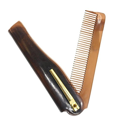 1 Set Combs Hair Brush Hairdressing Folding Beard Comb Tools Men Pocket Combo Long Round Handle Holder Graceful Popular Natural Grooming Women Travel Kit, Type-01