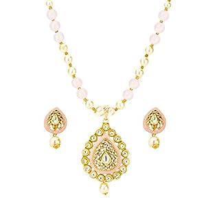 VintFlea Indian Fashion Bollywood Designer Traditional Kundan & Pearl Studded Gold Plated Necklace Set for Women/Girls