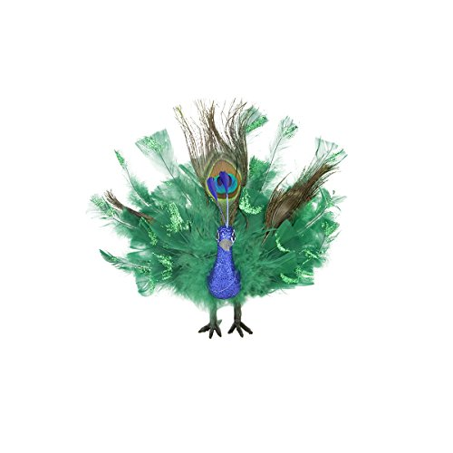 Northlight Colorful Green Regal Peacock Bird with Open Tail Feathers Christmas Decoration, 7