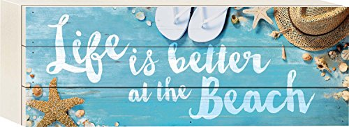 Life is Better At the Beach Starfish Seashells 5 x 12 Wood Plank Design Wall Box Sign