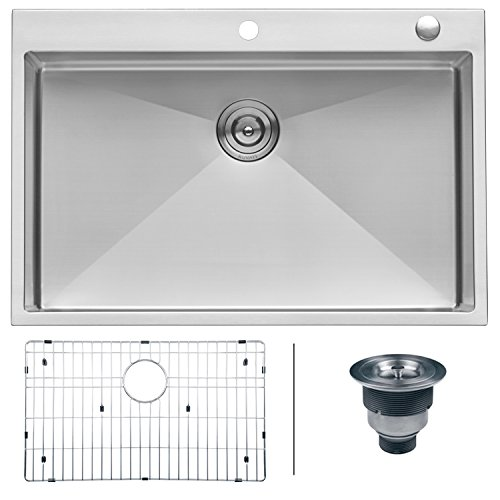 (Ruvati 33 x 22 inch Drop-in Tight Radius 16 Gauge Stainless Steel Topmount Kitchen Sink Single Bowl - RVH8005)
