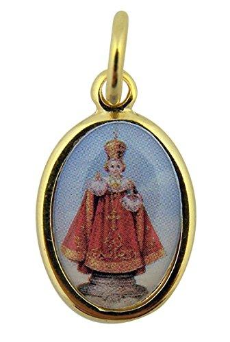 Gold Toned Base with Epoxy Image Infant of Prague Icon Medal Pendant, 1 Inch