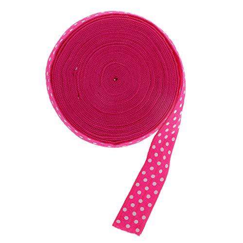 IPOTCH 1ロール 15mm 水玉 レース リボン トリム 弾性 縫製 裁縫道具 全5色 - 深いピンクの商品画像