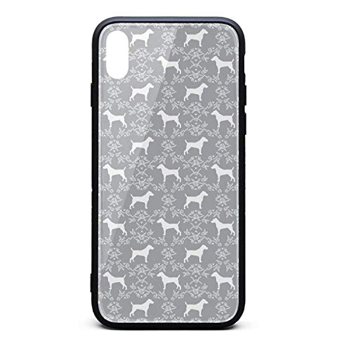 - Cute Phone Case for iPhone X Terrier Dog Silhouette Floral Rubber Frame Tempered Glass Covers Designer Scratch-Resistant Skid-Proof Never Fade Cell Cases Good