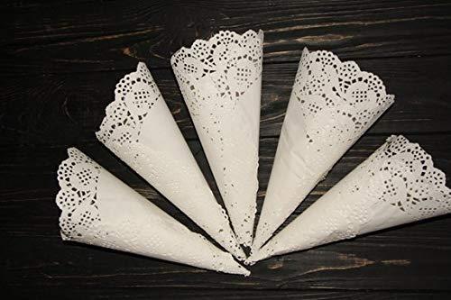 Wedding Cones, Lace Paper, Set of 50, Wedding Confetti, Lace Cones, Rustic Wedding Decor, Cones for Confetti, White Lace, Petals Party Cones, Wedding Favors