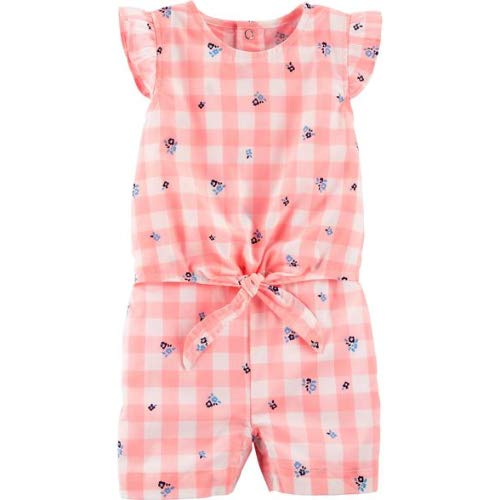 Carter's Baby Girls Gingham Tie Waist Romper Peach Multi (18 Months)